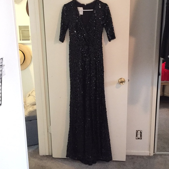 Jenny Packham Dresses Black Sequin Bridesmaid Dress Poshmark